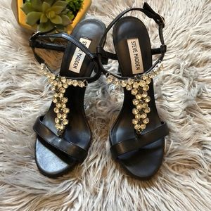 Steve Madden jewel embroidered strappy heel